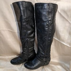 GUESS Gissel Black Over-Knee Wedge Boot Sz 6